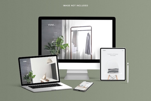 Maquete de site responsivo em vários dispositivos