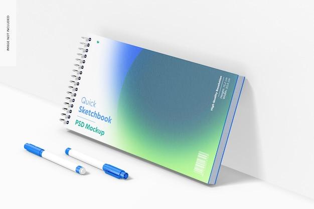 Maquete de sketchbook rápido, leaned