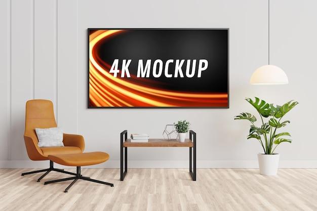 Maquete de smart tv no gabinete da moderna sala de estar em renderização 3d