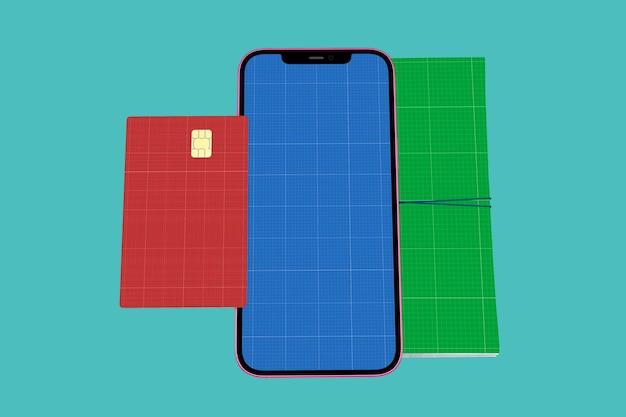 Maquete de smartphone, cartão de crédito e talão de cheques