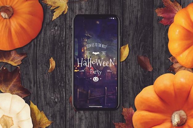 Maquete de smartphone com design de halloween