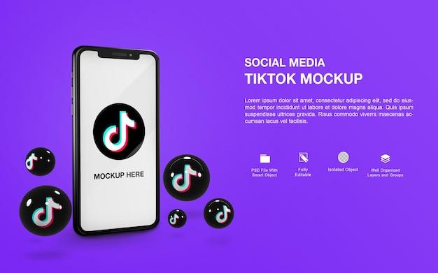 Maquete de smartphone com design de renderização de bola de tiktok