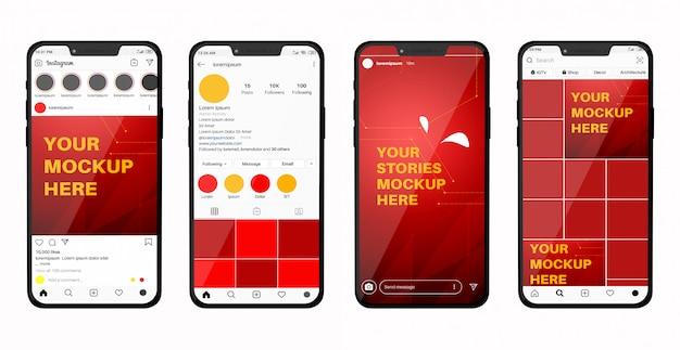 Maquete de smartphone com feed de mídia social e histórias