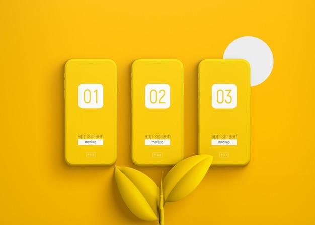 Maquete de smartphone com folhas amarelas