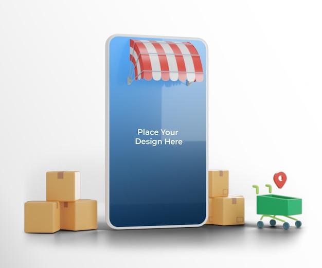 Maquete de smartphone com ilustração 3d logística