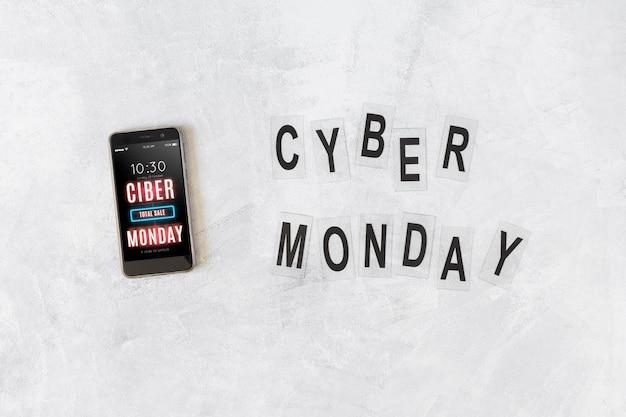 Maquete de smartphone com letras de segunda-feira cyber