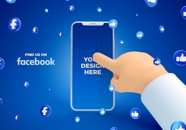 Maquete de smartphone com mão de desenho animado com renderização 3d de mídia social do facebook