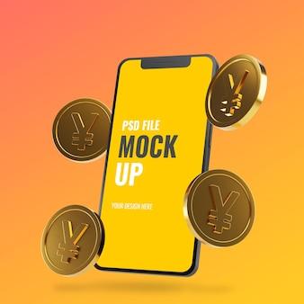 Maquete de smartphone com moedas de ienes de ouro flutuantes