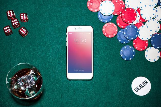 Maquete de smartphone com o conceito de cassino