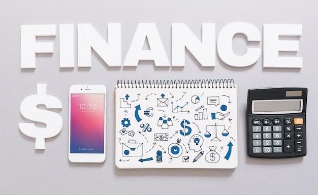 Maquete de smartphone com o conceito de finanças