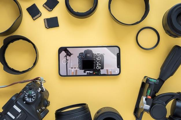 Maquete de smartphone com o conceito de fotografia