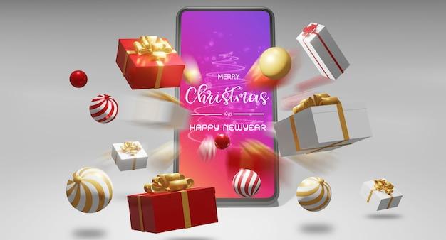 Maquete de smartphone com renderização em 3d de presentes