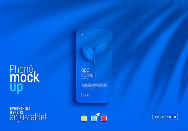 Maquete de smartphone com sombra de folhas