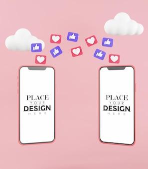 Maquete de smartphone com tela em branco trocando curtidas