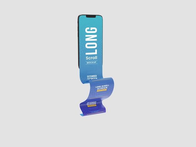 Maquete de smartphone com tela estendida de longa rolagem