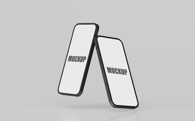 Maquete de smartphone com tela vazia mínima em renderização 3d
