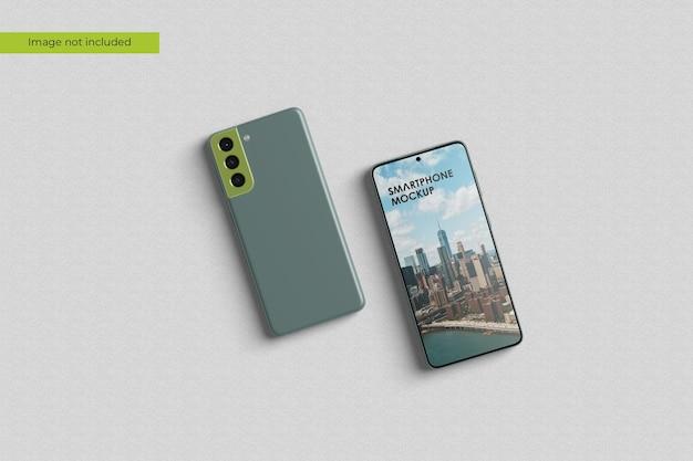 Maquete de smartphone com vista superior