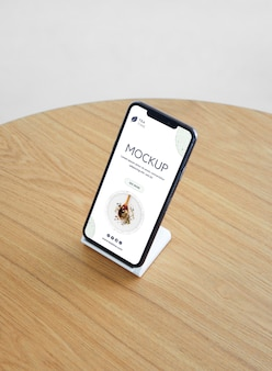 Maquete de smartphone de alto ângulo
