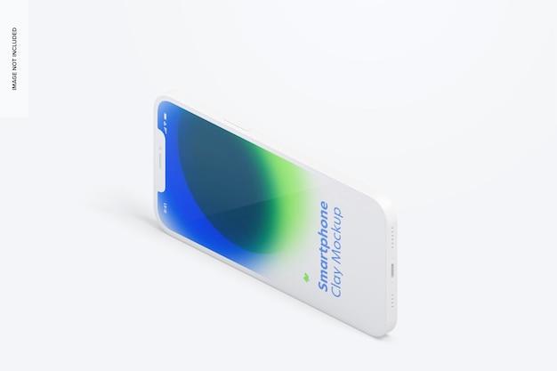 Maquete de smartphone de argila isométrica, vista direita da paisagem