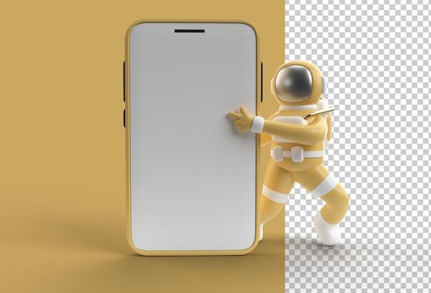 Maquete de smartphone de astronauta apontando o dedo