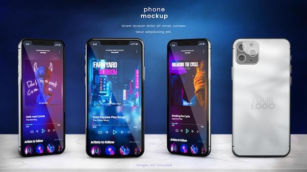 Maquete de smartphone de diferentes ângulos