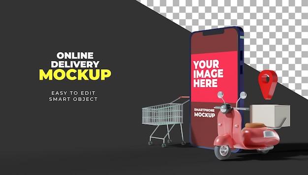 Maquete de smartphone de entrega online