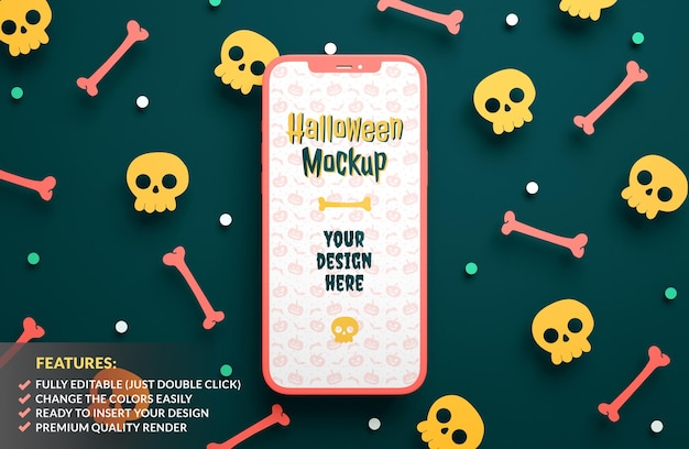 Maquete de smartphone de halloween em um fundo de caveiras e ossos de papel em renderização 3d