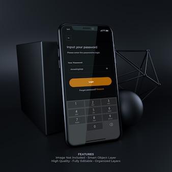 Maquete de smartphone de interface de usuário escura