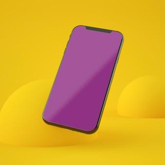 Maquete de smartphone de tela amarela renderização em 3d