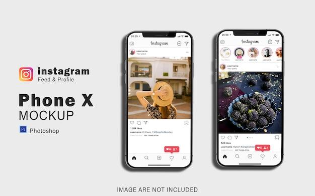 Maquete de smartphone duplo para sua visualização de mídia social Psd Premium