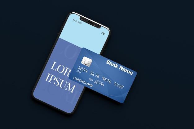 Maquete de smartphone e cartão de crédito