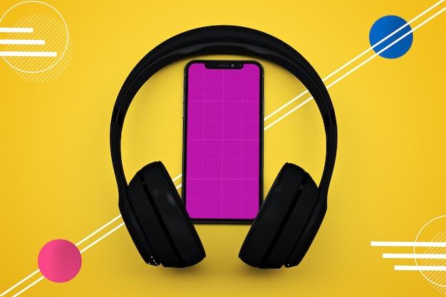 Maquete de smartphone e fones de ouvido