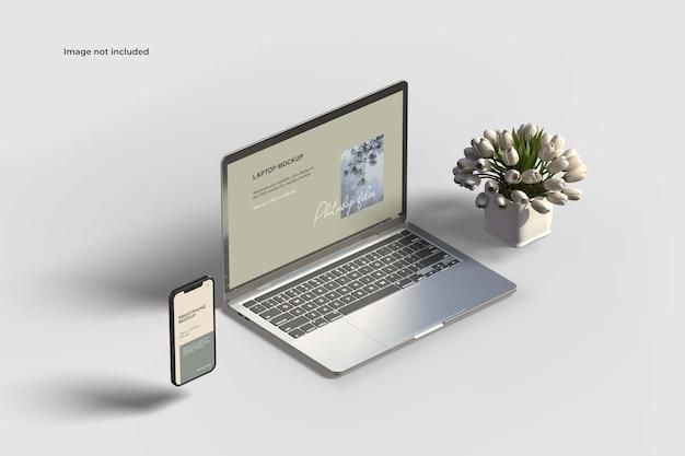 Maquete de smartphone e laptop com fluxo de tulipa