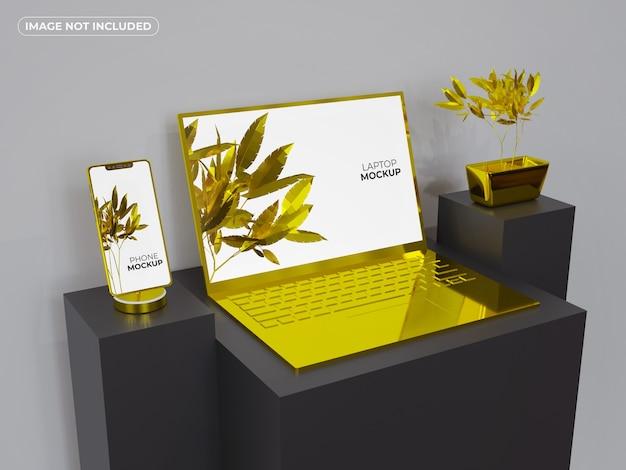 Maquete de smartphone e laptop ouro