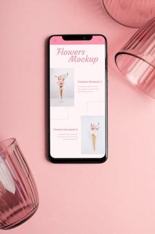 Maquete de smartphone e óculos plana