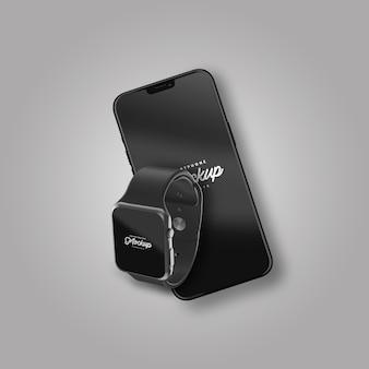 Maquete de smartphone e smartwatch