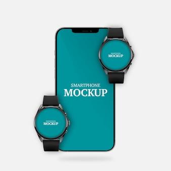 Maquete de smartphone e smartwatches