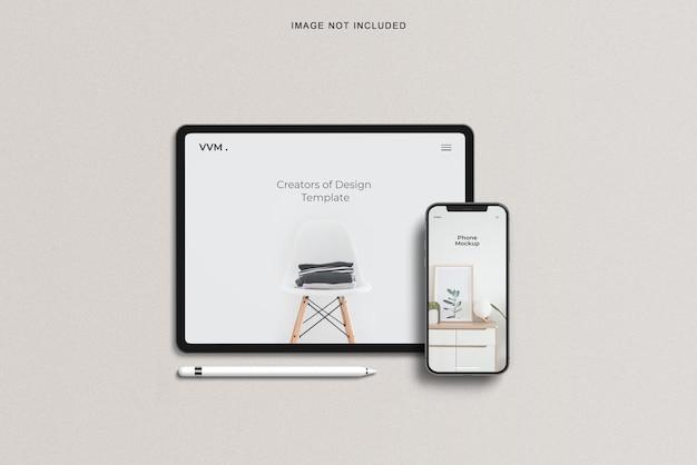 Maquete de smartphone e tablet de vista superior