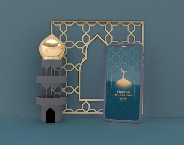 Maquete de smartphone. eid mubarak. celebração da comunidade muçulmana.