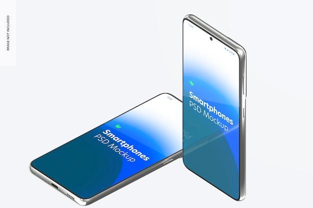 Maquete de smartphone, em pé e caído