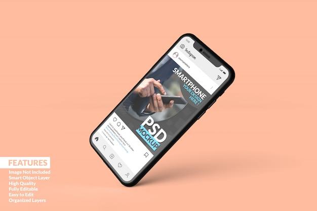 Maquete de smartphone flutuando para exibir o modelo de postagem do instagram premium