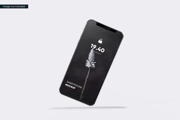Maquete de smartphone flutuante de vista frontal