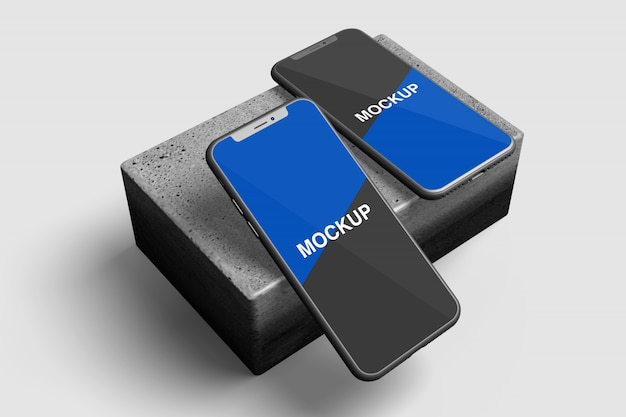 Maquete de smartphone flutuante