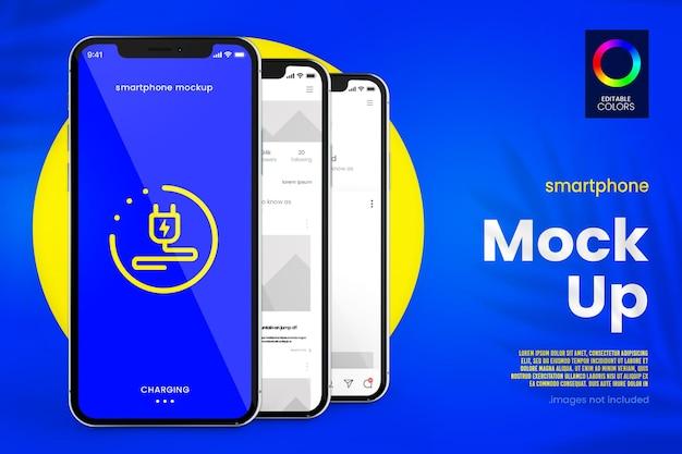 Maquete de smartphone moderno em renderização 3d