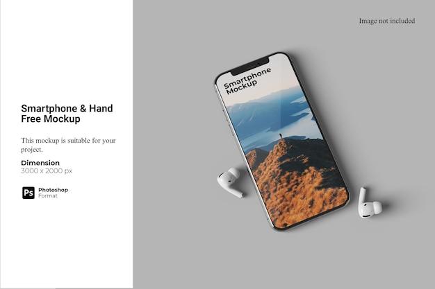 Maquete de smartphone para mãos livres