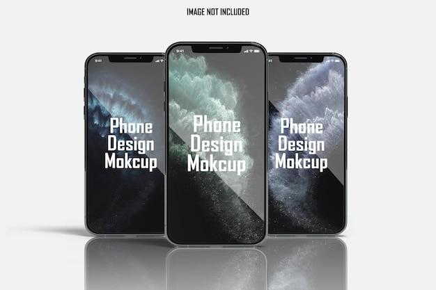 Maquete de smartphone triplo de vista frontal