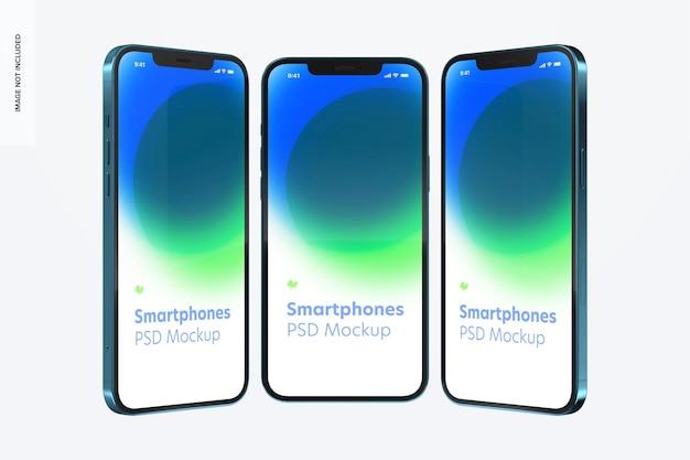 Maquete de smartphone, vista frontal e lateral