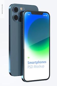 Maquete de smartphone, vista frontal e traseira