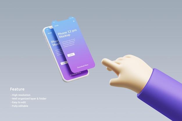 Maquete de smartphone voador com tela dupla e uma mão 3d fofa quase toque