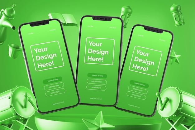 Maquete de smartphones flutuantes com elementos de renderização em 3d ramadan eid mubarak